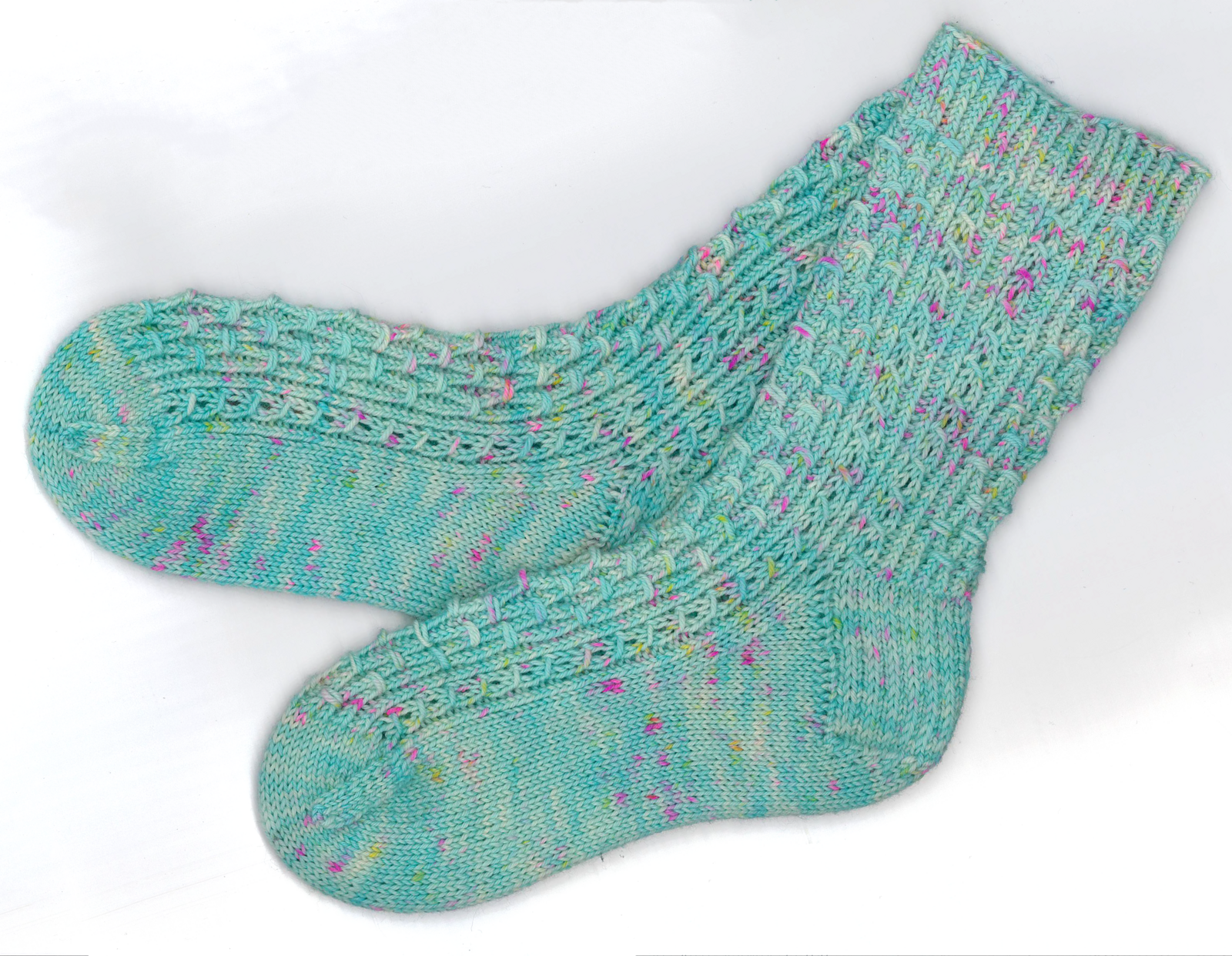 Turquoise knitted sock with smocking and mock cables